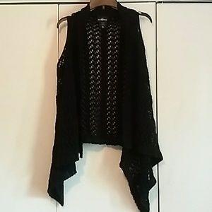 Knit black cardigan vest